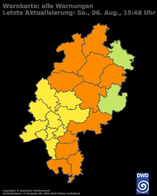 Aktuelle Wetterwarnungen für Fulda